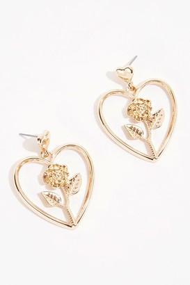 Forever 21 Heart Rose Earrings