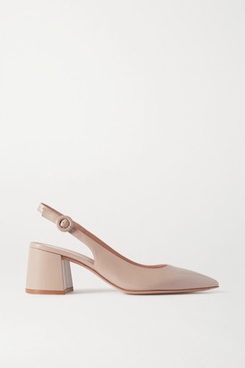 Gianvito Rossi Agata 60 Leather Slingback Pumps - Neutral