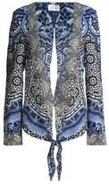 Camilla Tie-Back Crystal-Embellished Printed Twill Jacket