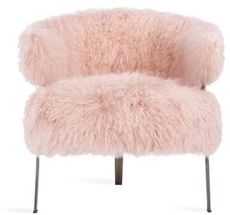 """Interlude Adele 32"""" W Genuine Fur Side Chair Fabric: Blush Sheepskin"""