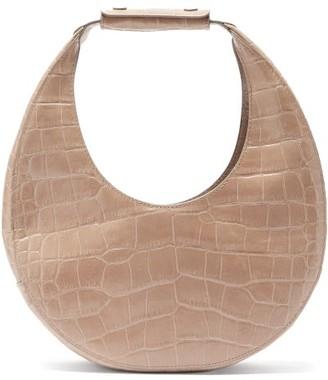 STAUD Moon Medium Croc-effect Leather Shoulder Bag - Grey