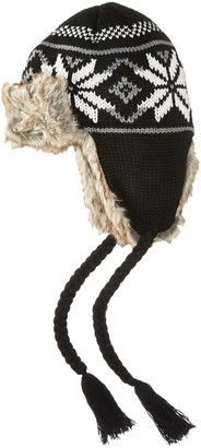 La Fiorentina Women's Knit Trapper Hat with Faux Fur and Tassels