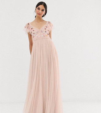 Needle & Thread love heart maxi dress in rose pink