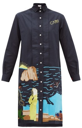 Kilometre Paris - Capri Embroidered-cotton Shirt Dress - Blue Multi