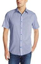 Margaritaville Men's Short Sleeve Mini Stripe Shirt