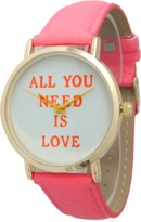 Olivia Pratt All You Need Is Love Leather Watch.