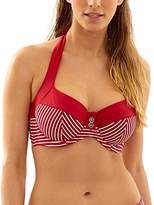 Panache Women's Britt Stripe Halter Underwire Bra-Sized Swimsuit Bikini Top