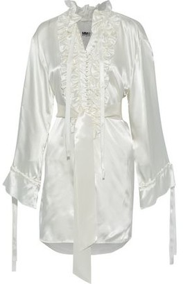 MM6 MAISON MARGIELA Belted Ruffle-trimmed Satin Top