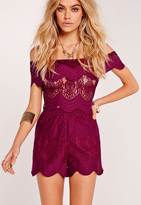 Missguided Lace Runner Shorts Purple