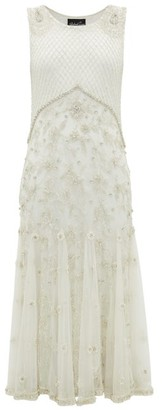 Richard Quinn Crystal And Bead-embellished Silk-tulle Midi Dress - Ivory