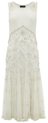Richard Quinn Crystal And Bead-embellished Silk-tulle Midi Dress - Womens - Ivory