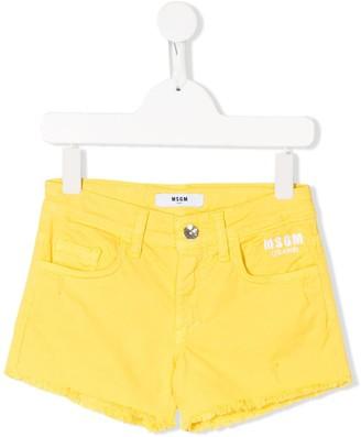 Msgm Kids Denim Frayed Edge Shorts
