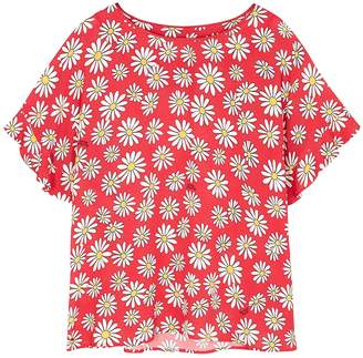 Moschino Red Daisy-print Chiffon Top
