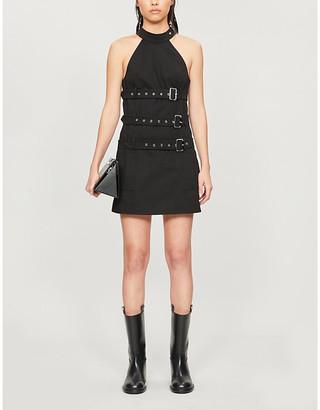 we11done Buckle-belt halter-neck cotton dress