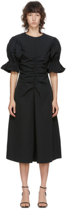Edit Black Flare Ruched Sleeve A-Line Dress
