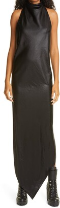 RtA Drew Asymmetrical Faux Leather Halter Dress