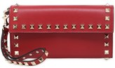Valentino Rockstud Leather Wristlet Clutch