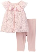 Laura Ashley Lace Dress & Legging Set (Baby Girls 0-9M)
