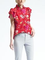 Banana Republic Easy Care Dillon-Fit Floral Flutter-Sleeve Blouse