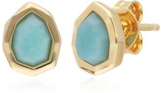 Gemondo Irregular Amazonite Gold Plated Silver Stud Earrings