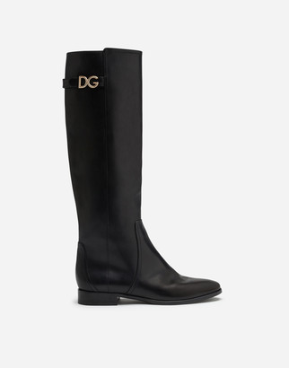Dolce & Gabbana Boots In Cowhide With Logo