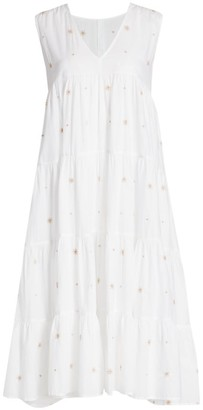 Merlette New York Chelsea Tiered Embroidered Midi Dress