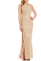 Aidan Mattox Beaded Lace Column Gown