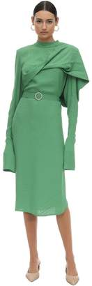 MATÉRIEL Belted Viscose Jacquard Midi Dress