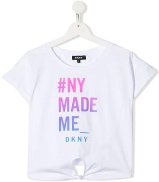 DKNY TEEN logo print tie front T-shirt