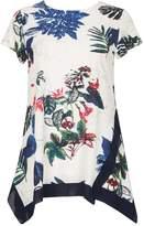 *Tenki White Floral Jersey Top