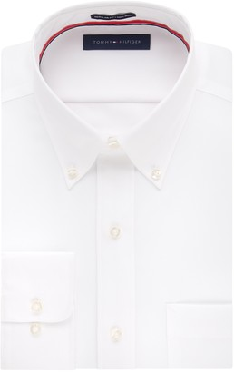 Tommy Hilfiger Men's Big and Tall Regular Fit Non Iron Solid Button Down Collar