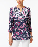 Charter Club Embroidered Floral-Print Tunic, Only at Macy's