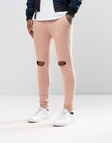 Asos Super Skinny Joggers With Knee Rips In Pink