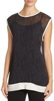 DKNY Sheer Pinstripe Silk Top