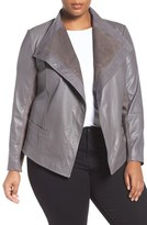 Sejour Plus Size Women's Asymmetrical Leather Jacket