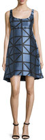 Milly Roxanne Sleeveless Graphic Gridded Jacquard Dress, Ice/Black