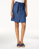 Style&Co. Style & Co Petite Belted Button-Front Denim Skirt, Created for Macy's