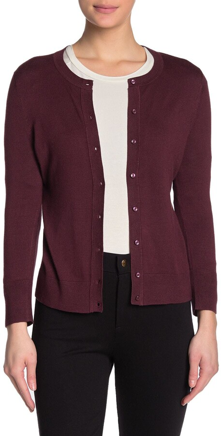Thumbnail for your product : Susina Crew Neck 3/4 Sleeve Cardigan