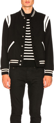 Saint Laurent Teddy Bomber Jacket in Black & White | FWRD
