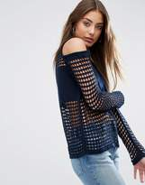 Asos Jumper In Mesh With Cold Shoulder