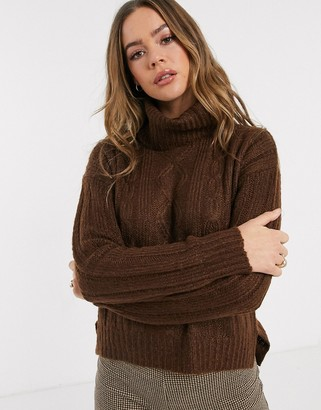 Qed London cable knit roll neck jumper in chocolate
