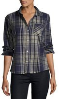 Current/Elliott The Slim Boy Shirt with Frayed Hem, Vista Plaid