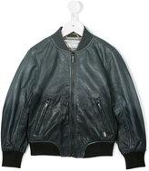 John Galliano leather bomber jacket - kids - Cotton/Sheep Skin/Shearling/Polyester - 4 yrs