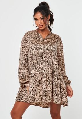 Missguided Stone Leopard Print Tie Neck Maternity Dress