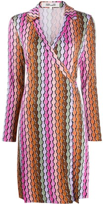 Diane von Furstenberg Colour-Block Wrap Silk Dress