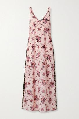 R 13 Printed Silk Midi Dress - Pink