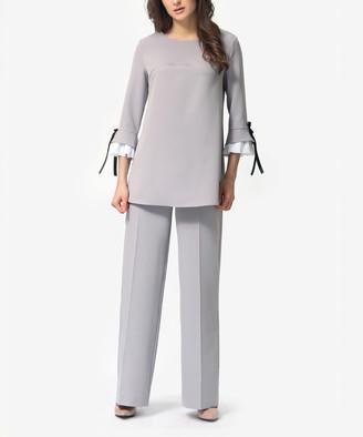 LADA LUCCI Women's Casual Pants Light - Light Gray Ruffle Tunic & Straight-Leg Pants - Women & Plus