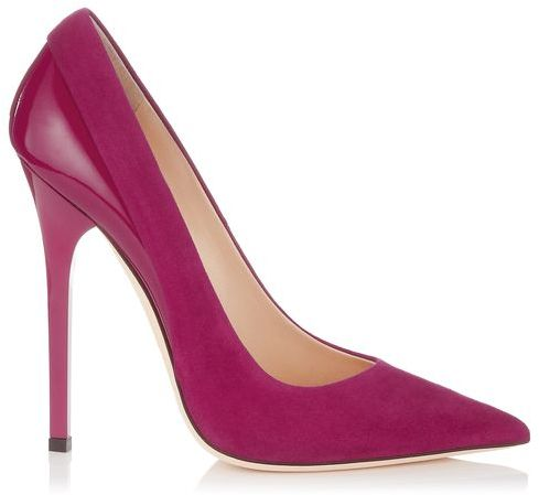 Jimmy Choo Kayomi Dark Orchid Suede and Shiny Leather Pointy Toe Pumps