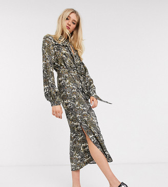 Topshop Tall paisley ruffle shirt dress in multi