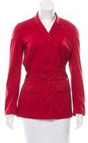 Prada Belted Notch-Lapel Jacket
